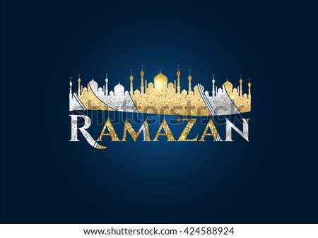 Happy Ramadan. Ramadan Kareem banner. Ramadan Kareem vector card. Ramadan Kareem celebration poster. Ramadan Kareem watercolor. Ramadan Kareem background. Ramadan Kareem hand lettering. Ramadan Kareem - stock vector
