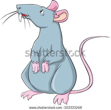 Happy Rat Cartoon - stock vector