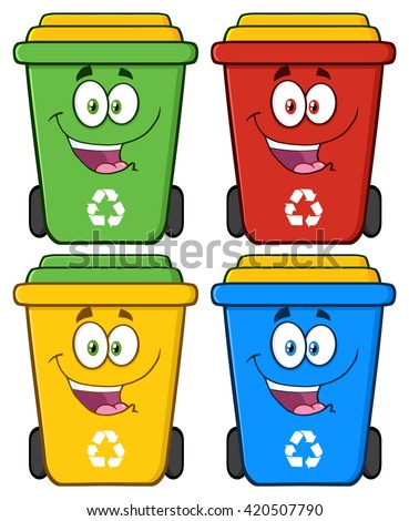 Happy Recycle Bin Cartoon Characters. Set Vector Collection Isolated On White - stock vector