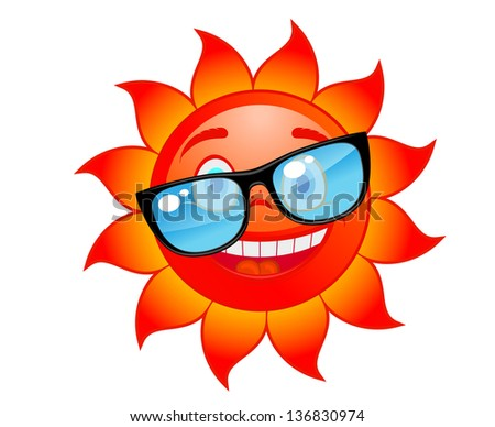 Happy red and hot sun in sunglasses. Cartoon style. Jpeg (bitmap) version also available in gallery - stock vector