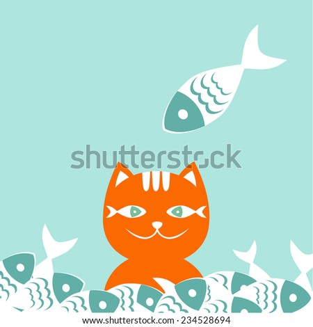 Happy red cat, half covered with fish.  - stock vector