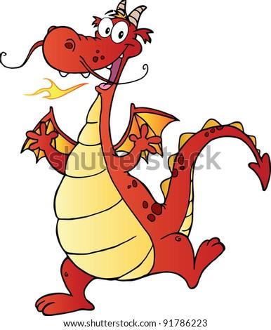 Happy Red Dragon Cartoon Character.Vector illustration - stock vector