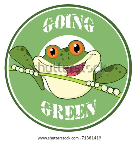 Happy Red Eyed Blue Tree Frog In Circle - stock vector