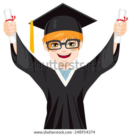 Happy red haired nerd student boy on graduation day holding two diplomas with both hands - stock vector