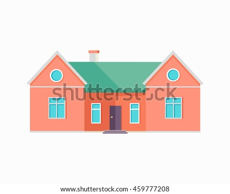 Happy red house banner poster template. Exterior home icon symbol. Residential cottage. Part of series of modern buildings in flat design style. Real estate concept. Vector
