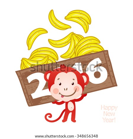 Happy red monkey with a full box of bananas. New Year 2016 greeting card. Vector illustration.