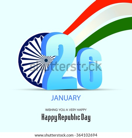 Happy republic day India illustration, Indian flag color themed illustration .