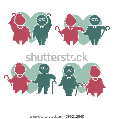Happy retirement: vector collection of old people symbols  - stock vector
