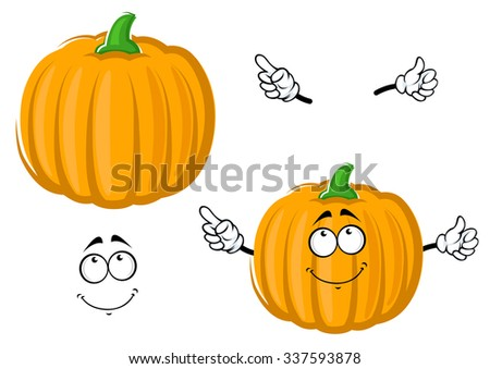 Happy ripe orange pumpkin vegetable cartoon character, isolated on white with separated face and hands - stock vector