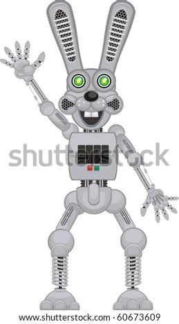 happy robot rabbit r2 - stock vector