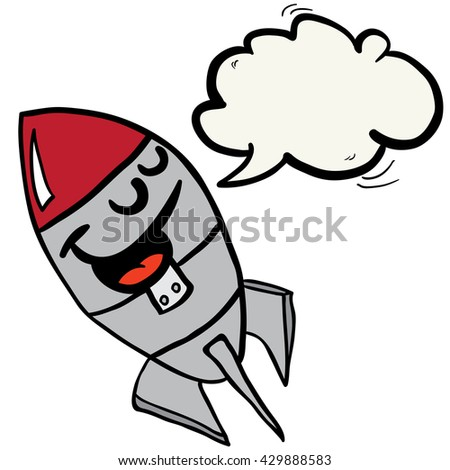 happy rocket with speech bubble cartoon