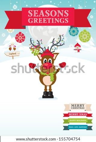 Happy Rudolf's Winter Wonderland with Seasons Greetings red ribbon text banner - stock vector
