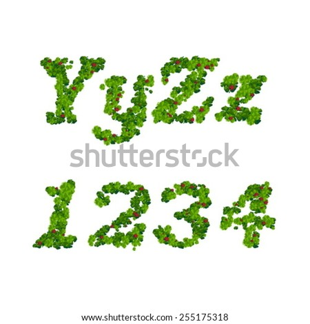 Happy Saint Patrick's Day font, alphabet letters and digits from clover with ladybugs - stock vector