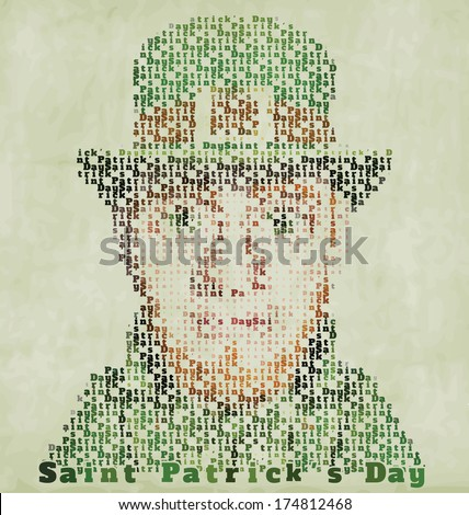 Happy Saint Patrick's Day Typographic Illustration - Vintage Grunge Background