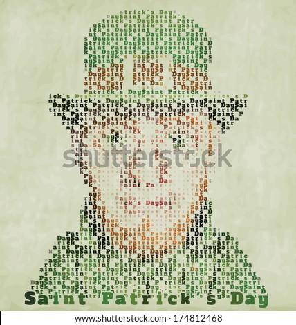 Happy Saint Patrick's Day Typographic Illustration - Vintage Grunge Background - stock vector