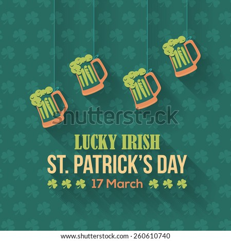 Happy Saint Patricks Day - Hanging Beer Icon, Party, Celebration Flat Design - stock vector