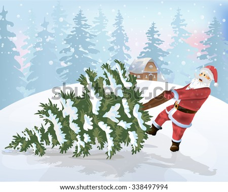 Happy Santa Claus and Christmas tree vector - stock vector