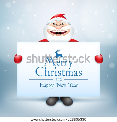 Happy Santa Claus. Creative Christmas card. Happy Santa Claus looking out from behind the blank sign. - stock vector