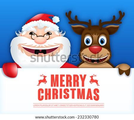 Happy Santa Claus, & Happy deer. Creative Christmas card. - stock vector