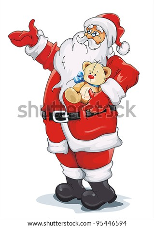 Happy Santa Claus isolated on white background. - stock vector