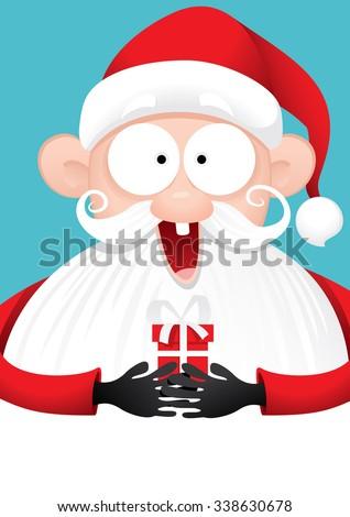 Happy Santa Claus with Gift Vector Cartoon - Vector illustration of a celebrating Santa Claus holding small present  - stock vector