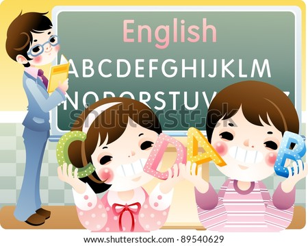 Happy School Days with Cute young Friends - Learning Letters with funny little schoolgirl and schoolboy in classroom on a background of chalkboard and smart teacher : vector illustration - stock vector