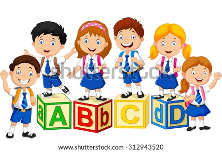 Happy school kids with alphabet blocks - stock vector