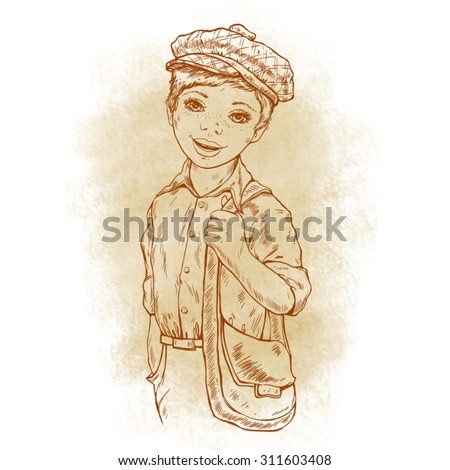 Happy schoolboy in a cap with a bag, sepia background, retro style - stock vector
