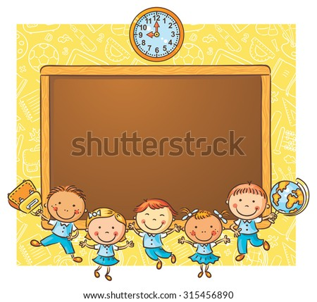 Happy schoolkids with a blackboard as a frame with copy space