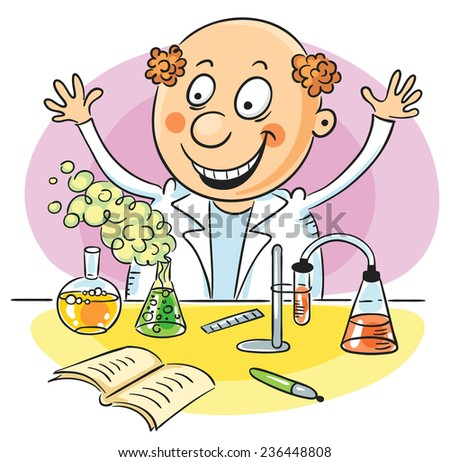 Happy scientist has performed a successful experiment in chemistry - stock vector