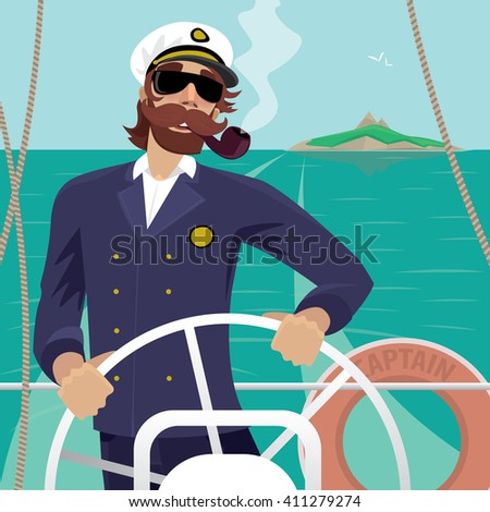 Happy sea captain looks funny with a mustache and a pipe standing on the deck of the ship and rotates ship steering wheel. Sunny weather - Profession or Sailor concept. Vector illustration - stock vector