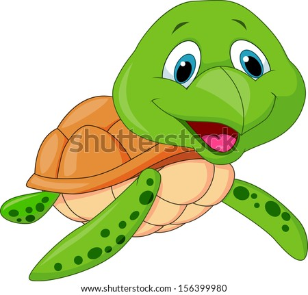 Happy sea turtle cartoon - stock vector