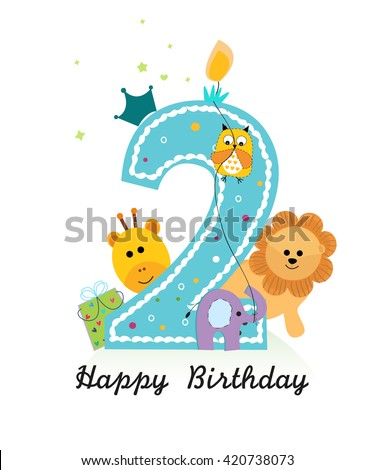 Happy second birthday animals baby boy stock vector 420738073 happy second birthday with animals baby boy greeting card vector bookmarktalkfo Choice Image