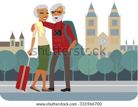 Happy senior couple traveling around Europe vector - stock vector