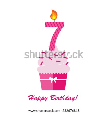 Happy Seventh Birthday Anniversary card with cupcake and candle  in flat design style, vector illustration  - stock vector