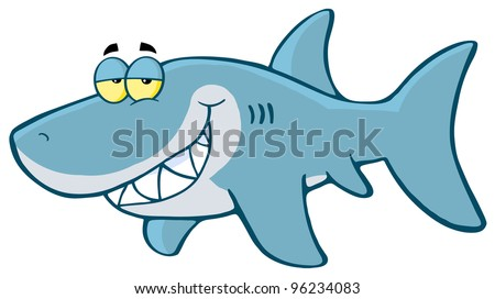 Happy Shark Cartoon Character. Vector Illustration.Jpeg version also available - stock vector