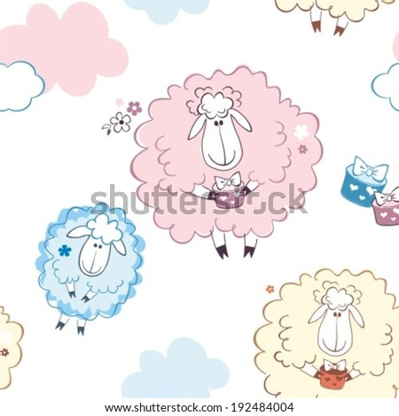 Happy sheep in clouds with gifts. Vector illustration - stock vector