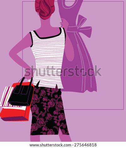 Happy shopping woman. Evening city - stock vector