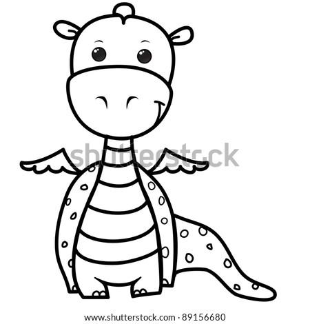 happy small dragon cartoon, line art, coloring - stock vector
