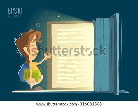 Happy smile child kid boy open and reading big old magic book. Bright color vector illustration. - stock vector