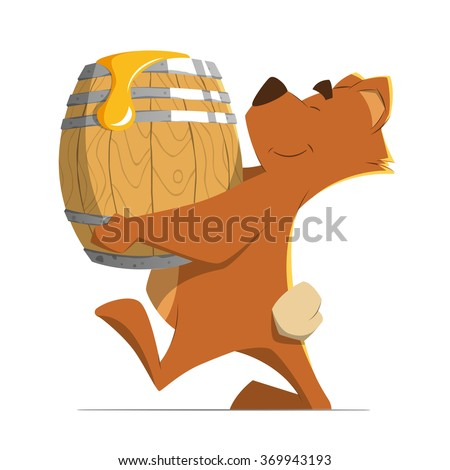 Happy smile cute brown bear holding and carrying a wood old barrel with a sweet honey. Isolated on white background. Color vector illustration.