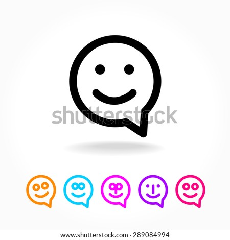 Happy smile - face chat speech bubble icon. Template for design. - stock vector