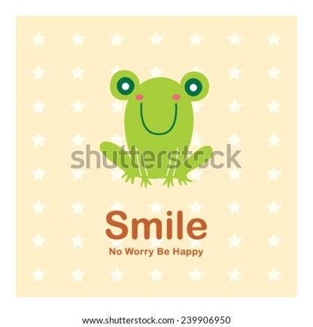 happy smile frog - stock vector