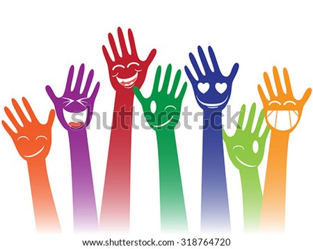 happy smile hands - stock vector