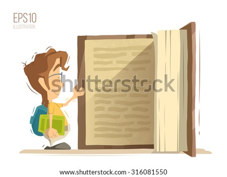 Happy smile school child kid boy schoolboy pupil open and reading big old book. Bright color vector illustration. - stock vector