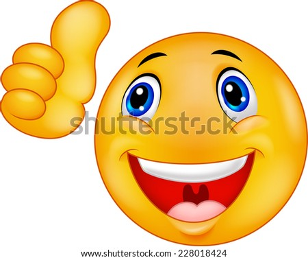 Happy smiley emoticon giving thumbs up - stock vector