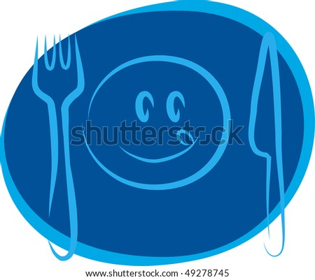 happy smiley face with fork and knife - stock vector