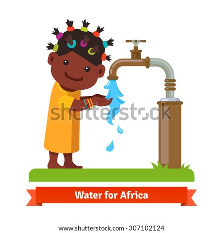Happy smiling african girl washing hands and drinking water from a rusty pipe faucet tap. Water shortage symbol. Flat style cartoon vector illustration isolated on white background. - stock vector