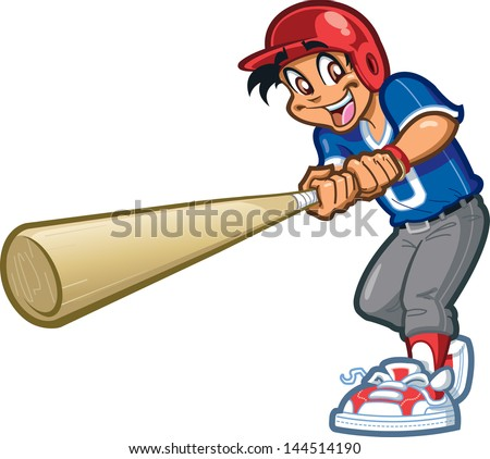 Happy Smiling Baseball Softball Little League Player Swinging a Giant Bat with Batter's Helmet - stock vector