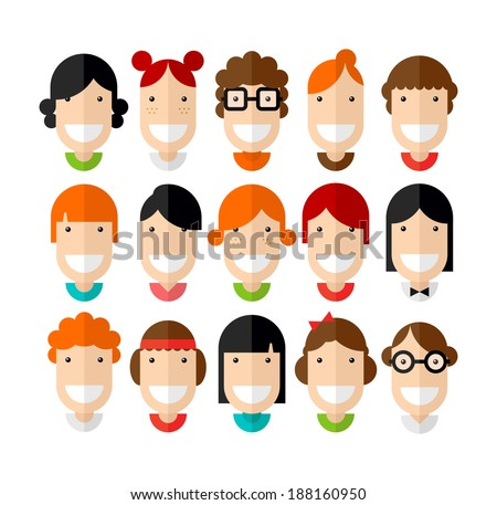 Happy smiling beautiful young girls character with various hair style, flat design, vector illustration  - stock vector